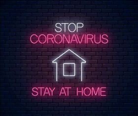 Stay at home neon icon vector