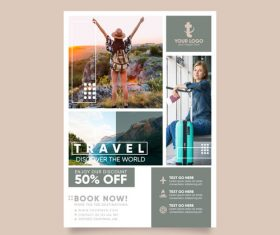 Summer Travel photo template poster vector