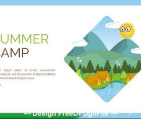 Summer camp cartoon illustration vector