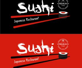 Sushi restaurant poster banner vector