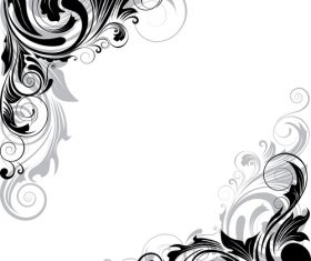 Swirl black and gray angle ornaments vector