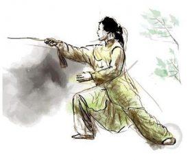 Swordsmanship hand drawn illustration vector