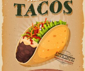 Tacos snack poster vector