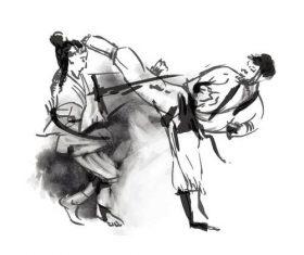 Taekwondo hand drawn illustration vector