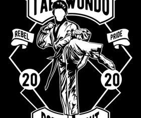 Taekwondo retro poster vector