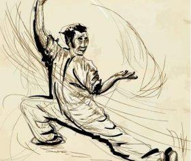 Tai Chi hand drawn illustration vector