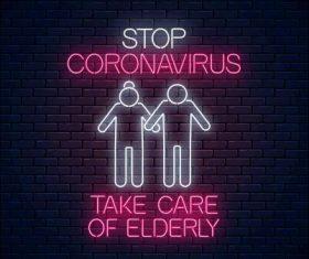 Take care of elderly neon icon vector