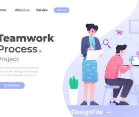 Teamwork process flat concept vector