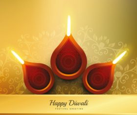 Three candlesticks diwali vector