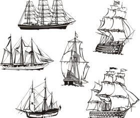 Three sailing boat figure sketch vector
