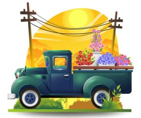 Transport flowers vector