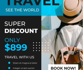 Travel with photo template poster vector