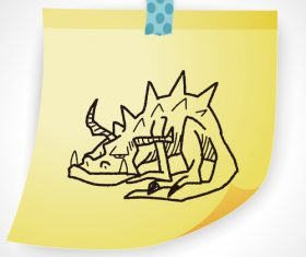 Triceratops creative doodle vector