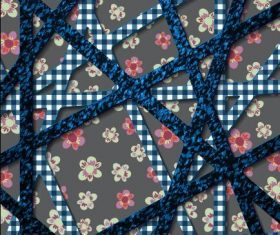 Two-color cross stripes floral background pattern vector