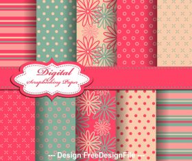 Two-color seamless floral pattern vector