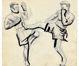 UFC hand drawn illustration vector