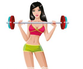 Upper limb exercise girl vector