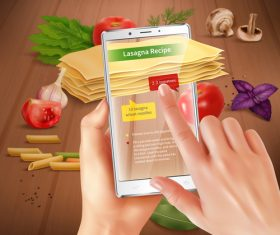 Use your smartphone to learn cooking vector