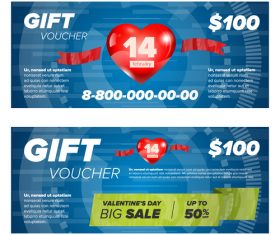 Valentines day gift voucher vector