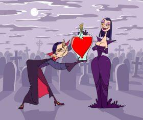 Vampires funny caricature vector