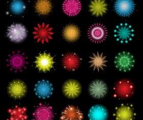 Various colors fireworks icons set vector