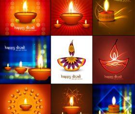 Various diwali festival candlestick vector