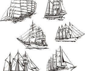Various sailing figures figure sketch vector