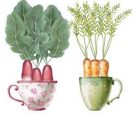 Vegetables in tea cup vector