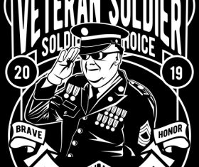 Veteran soldier retro poster vector