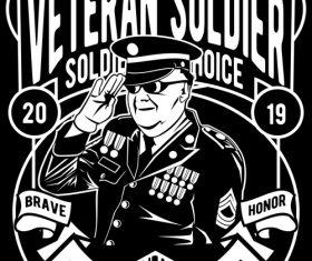 Veteran soldier retro poster vector