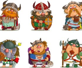 Vikings comic characters vector
