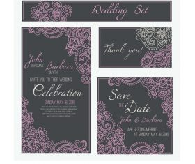Vintage wedding set linear template vector