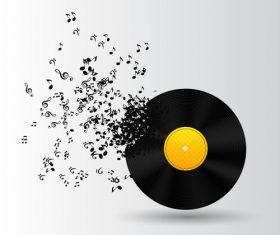 Vinyl disc happy note vector