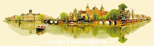 Watercolor city panorama vector