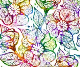 Watercolor flowers colorful seamless pattern vector