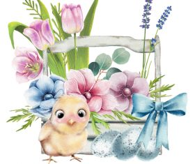 Watercolor illustration easter card vector