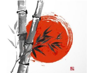 Watercolor painting bamboo and red day vector