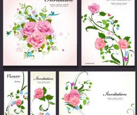 Wedding invitation card flower background vector
