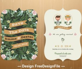 Wedding invitation card rustic cartoon bride and groom vector