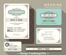 Wedding set linear template vector