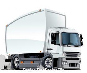 White cartoon semi truck vector