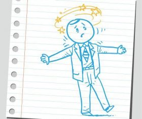 Work tired cartoon character vector