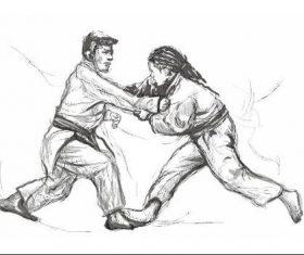 Wrestling hand drawn illustration vector