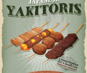 Yakitoris snack poster vector