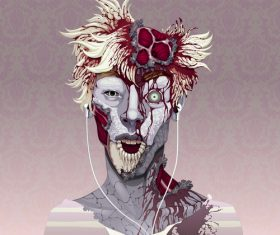 Zombie with headphones vector