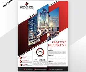 Modern corporative business flyer template red vector