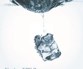 1 Ice cube falling from water background Vector