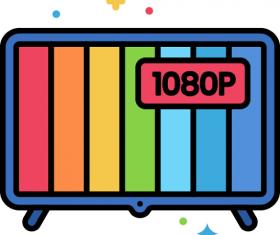 1080p TV Icon Vector