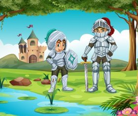 2 Knights Standing with Sword and in the Forest Cartoon Background Vector