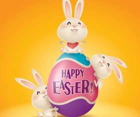 3 Cute Bunny with Happy Easter Egg Cartoon Background Vector